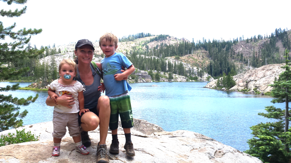 Backpacking in the Sierras with my kids.