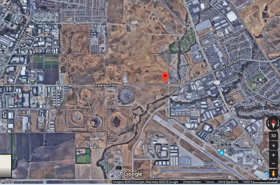 Tank Farm remediation site: 332 acres (Google Maps, 2018)