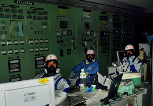 Operators at Fukushima Dai-ichi in a completely dark control room.