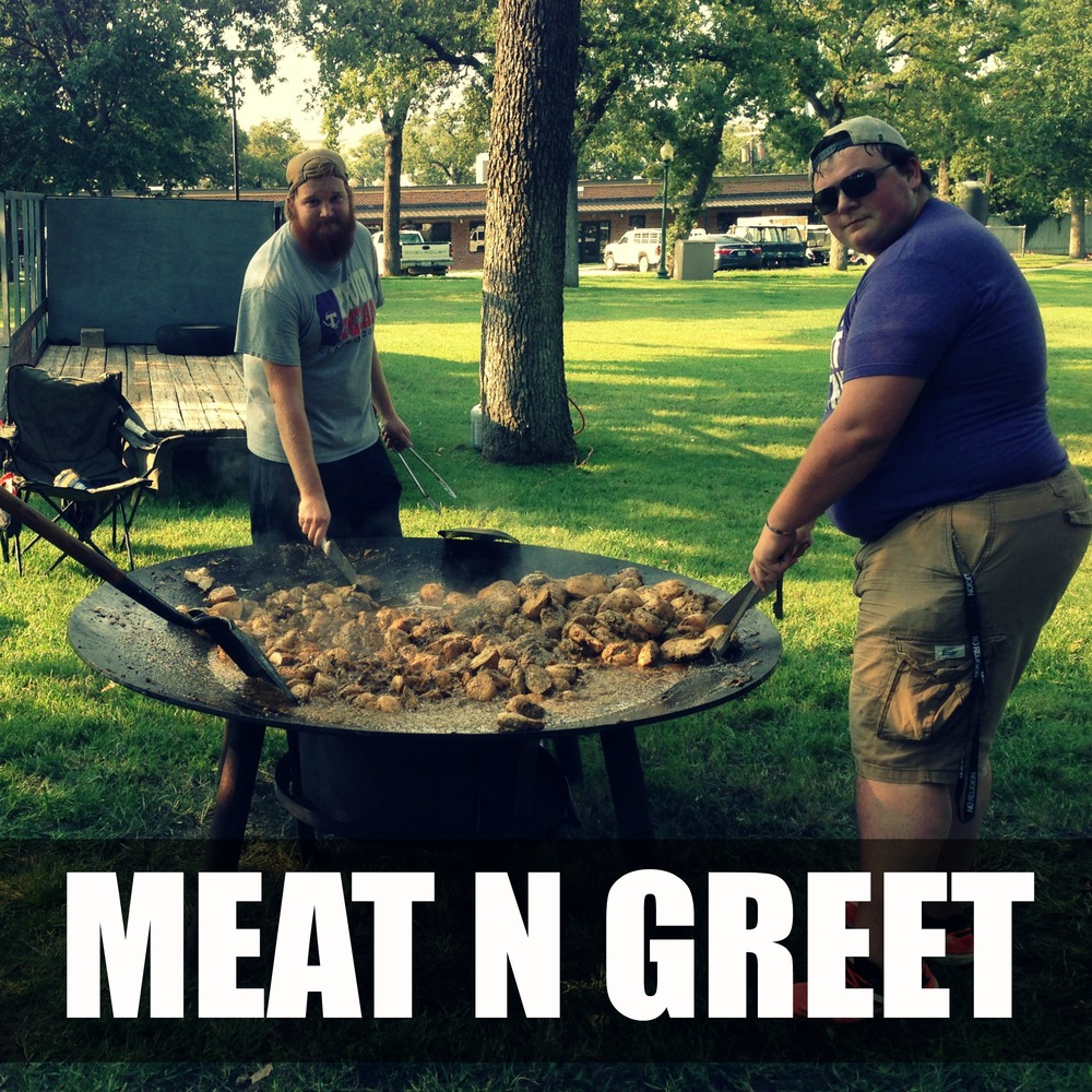 MEAT N GREET   THURSDAY AT 7PM IN HERITAGE PARK   Ever seen 100lbs of meat cooked on a 6 foot cast iron wok? Come join us for a meat buffet as we celebrate the kick off of 402! Eat well, hang out, play giant yard games, and relax. Be sure to join us for the 402 Worship Encounter at 8pm at the BSM immediately following Meat N Greet!