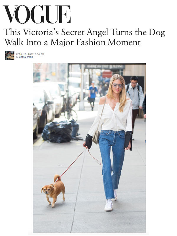 Martha Hunt featured in Vogue wearing the Bessette top
