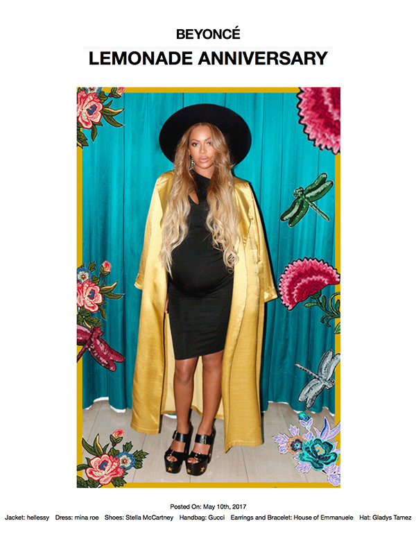 Beyonce in the SS17 Akim  trench