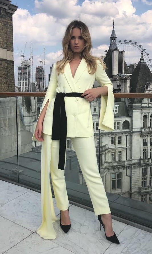Lily James in the Hellessy Resort 19 Europa Blazer and Reflection Pant