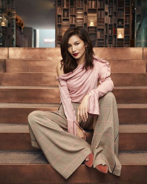 Gemma Chan wearing the Hellessy AW18 Belle top in Flamingo Moire