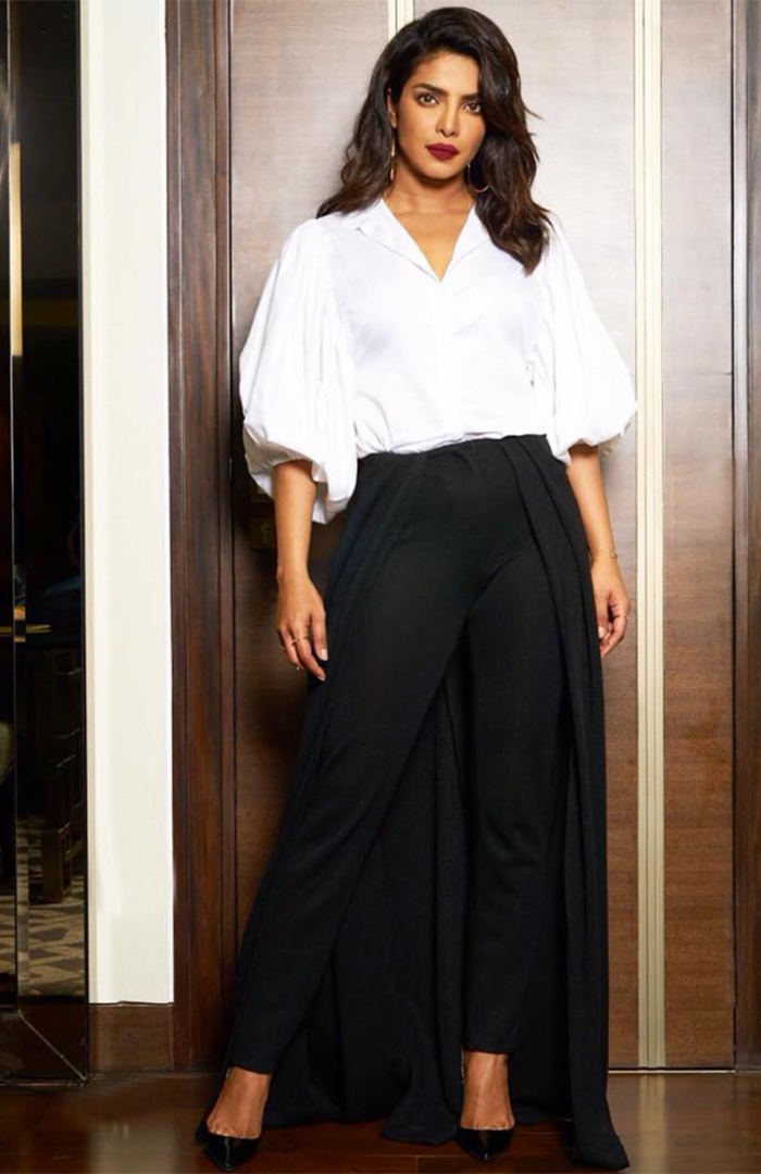 Priyanka Chopra wearing the Hellessy SS18 River Pant in Black Lace Jersey