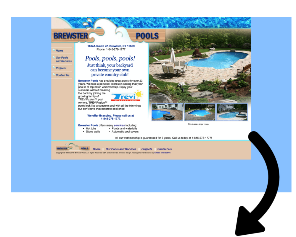 BEFORE SHOT:  Pool Builder Website Design, SEO for Pool Companies