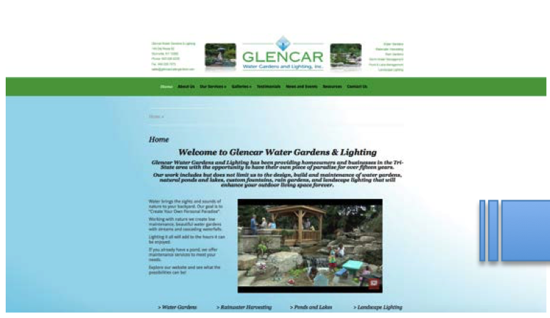 BEFORE:  Glencar's website before the redesign