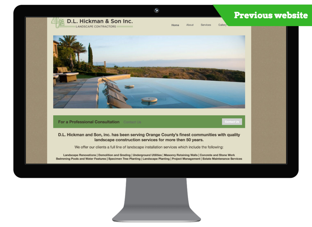 Newport Beach, CA previous website of a landscape construction company