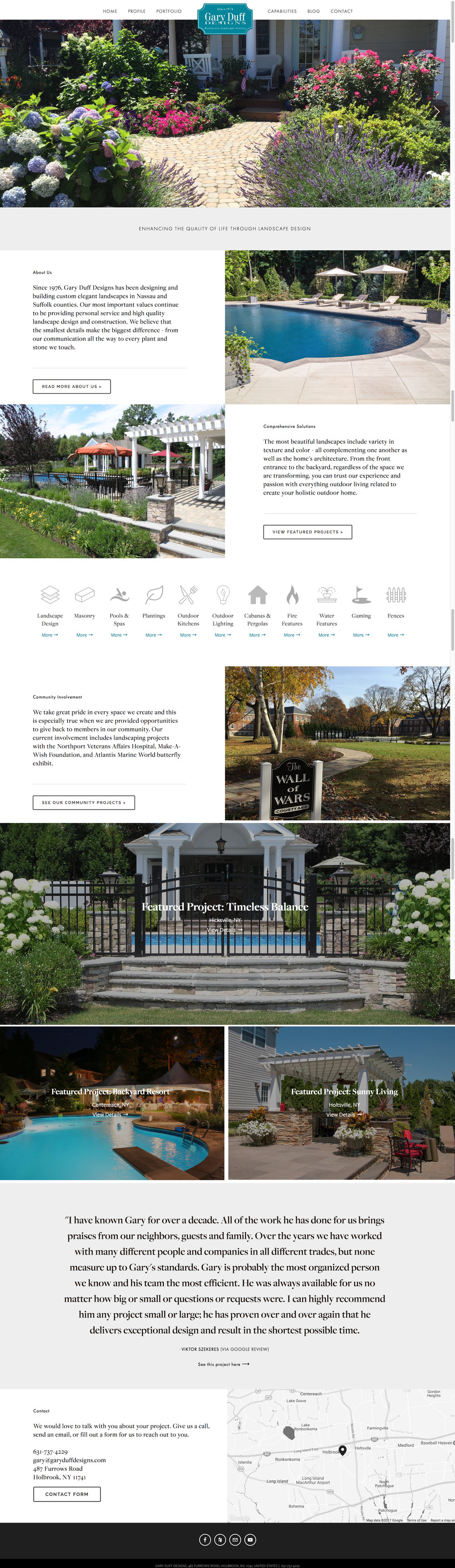The new website for a landscape design and build firm in long island ny