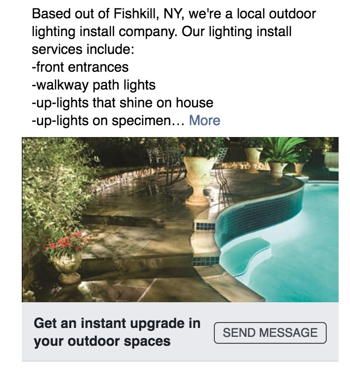 Facebook advertising for Fishkill, NY OUTdoor lighting company