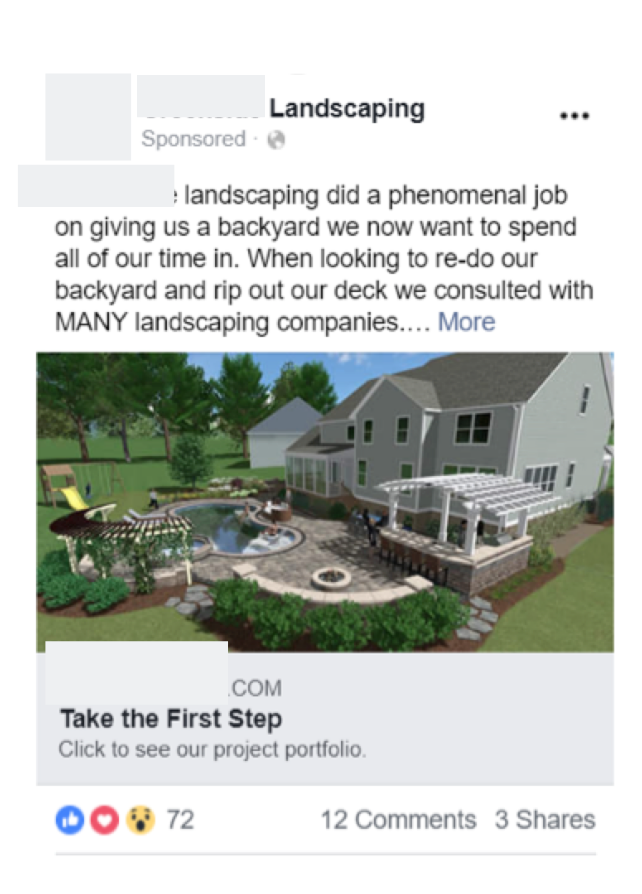 Facebook advertising for outdoor lighting company in fishkill ny