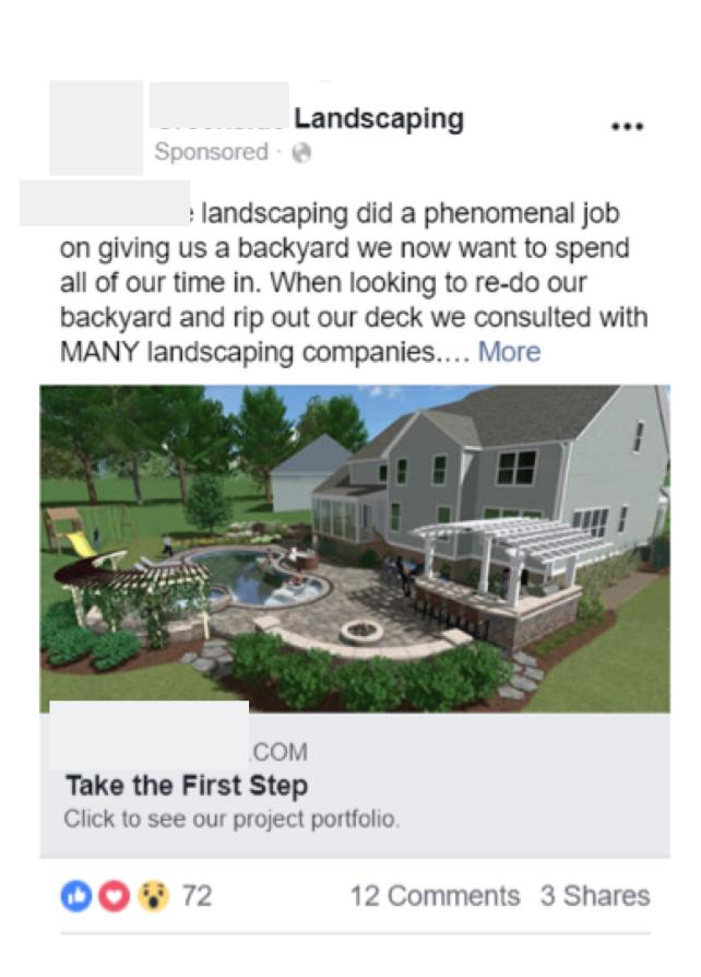 Facebook advertising for outdoor lighting company in fishkill ny