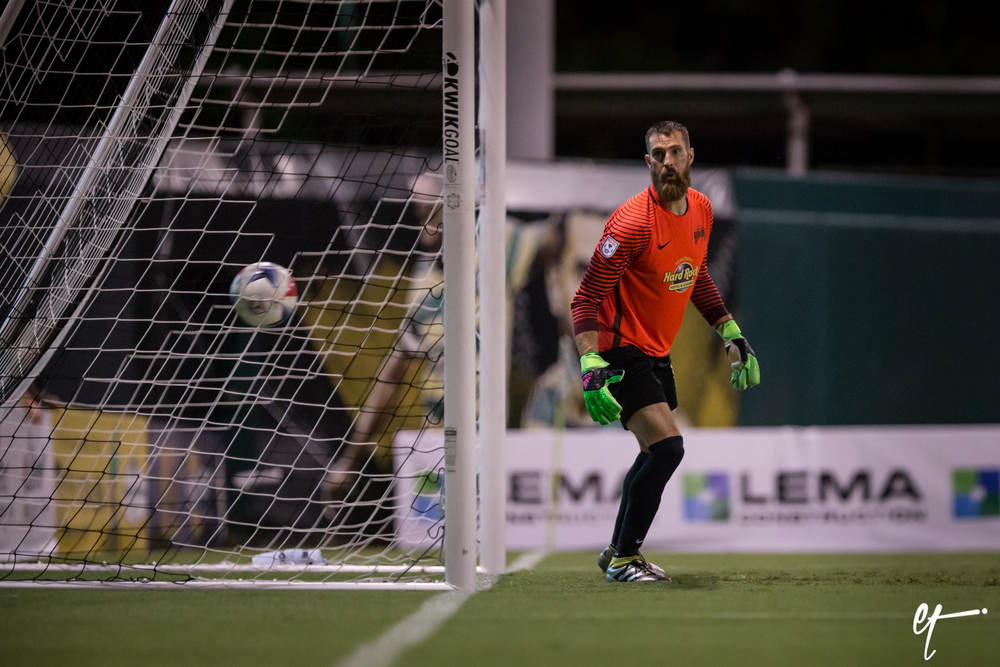 Matt Pickens watches as Juan Arango's free kick finds the back of the net to give the Cosmos a 1-0 lead against the Rowdies. © Eric Tillotson