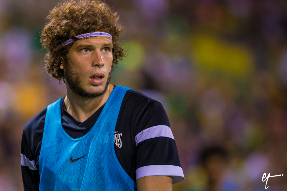 Tommy Heinemann watches as he warms up, he would come in the game in the 81st minute when the Rowdies were still down 2-0. © Eric Tillotson