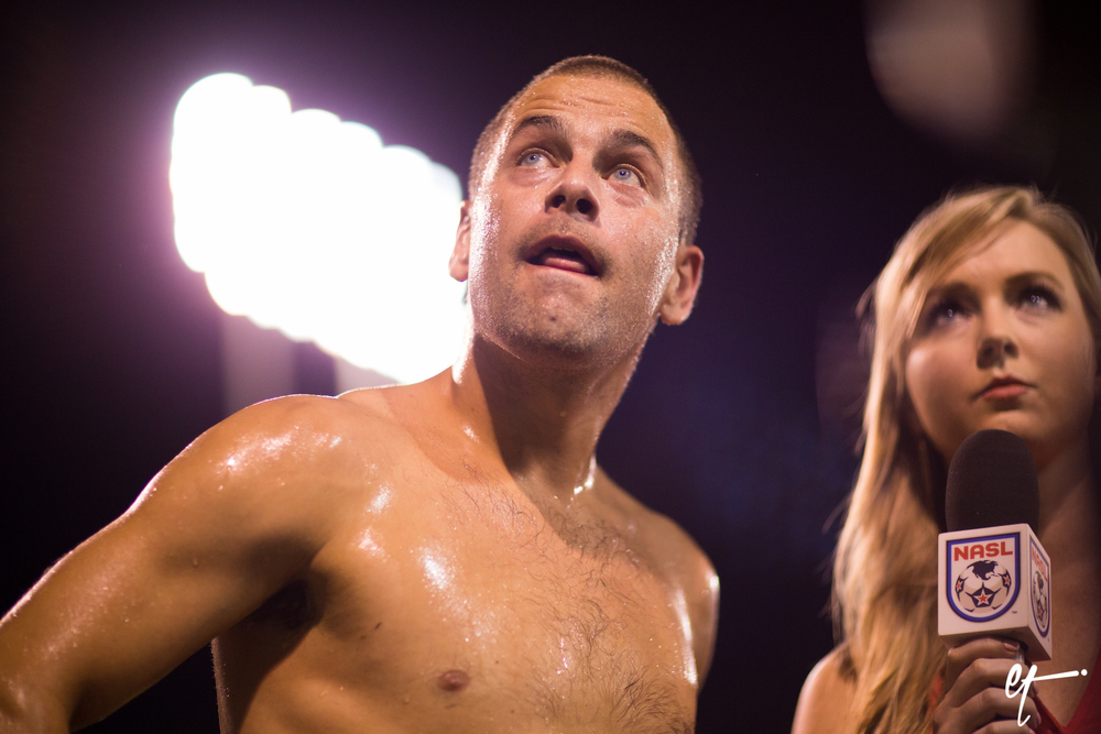 Joe Cole's post game interview with Heather Donnelly. © Eric Tillotson