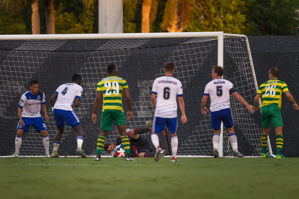 FC Edmonton Goalkeeper Matt VanOekel saved all nine of Tampa Bay Rowdies' shots on goal . © Eric Tillotson