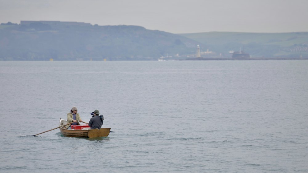 Filming at Sea James & Leo in a wooden dinghy, Kingsand Bay.