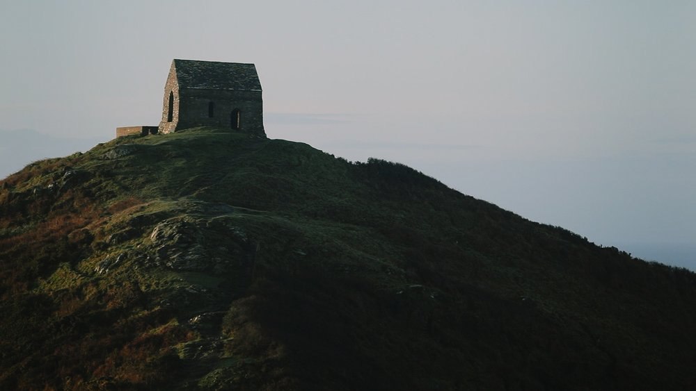 Rame Head Chapel on the hill.