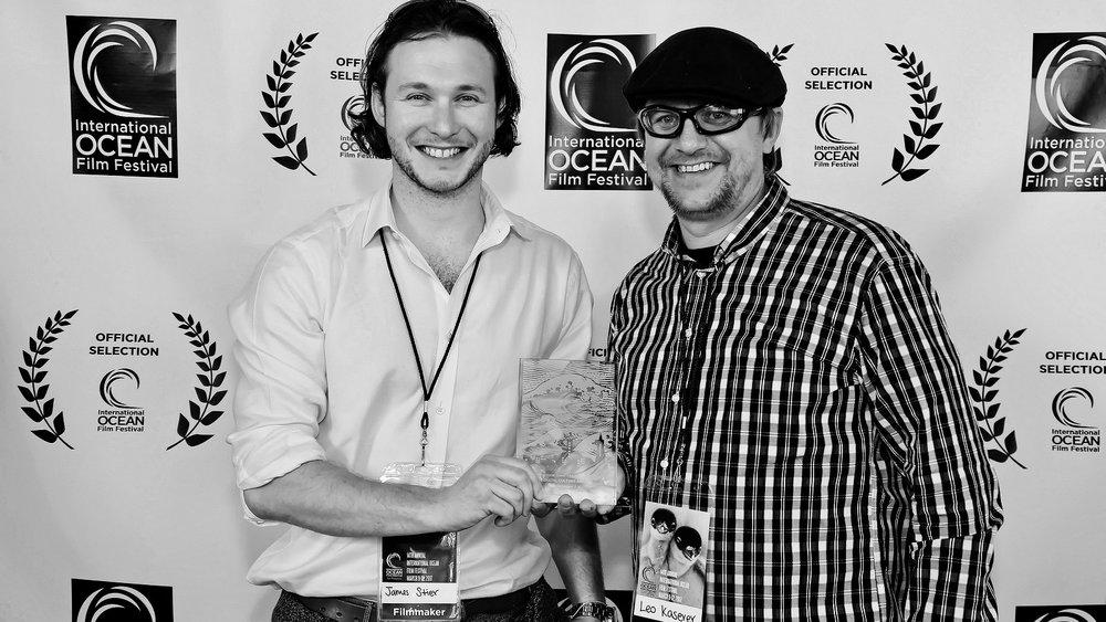 San Francisco International Ocean Film Festival  James & Leo receiving the Coastal Culture award.