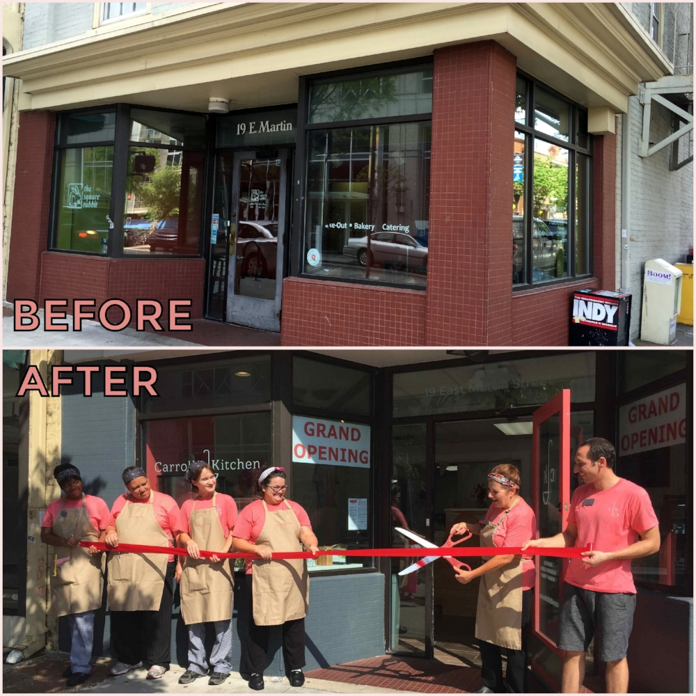 Before and after shots of our renovated space on Martin Street in downtown Raleigh.