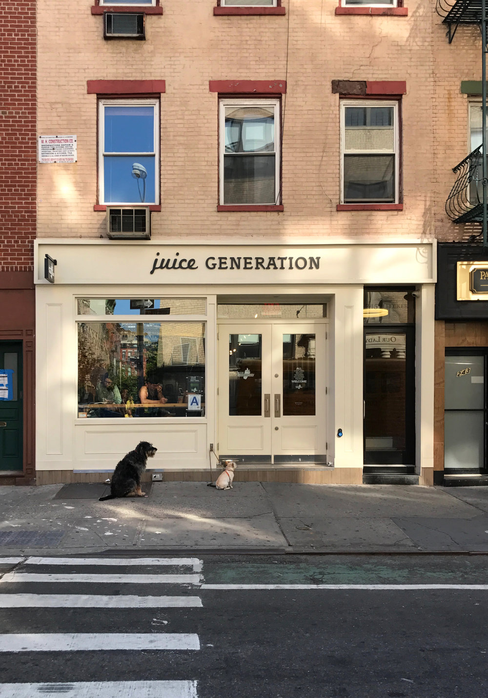 I loved how cute these dogs were waiting outside for their owners. Love the color of this building, and I love the simple and elegant  Juice Generation  logo & signage of course...