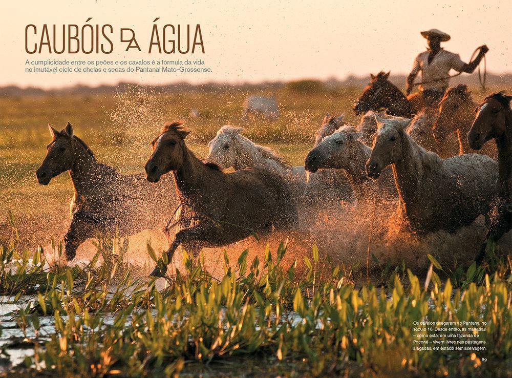 Edição de fotos e design da reportagem  Caubóis da água | NG Brasil, maio 2011. Fotos de Izan Petterle