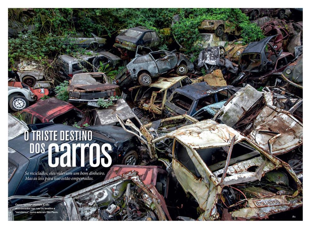 Edição de fotos e design da reportagem  O triste destino dos carros | NG Brasil, dezembro 2013. Fotos de Victor Moriyama