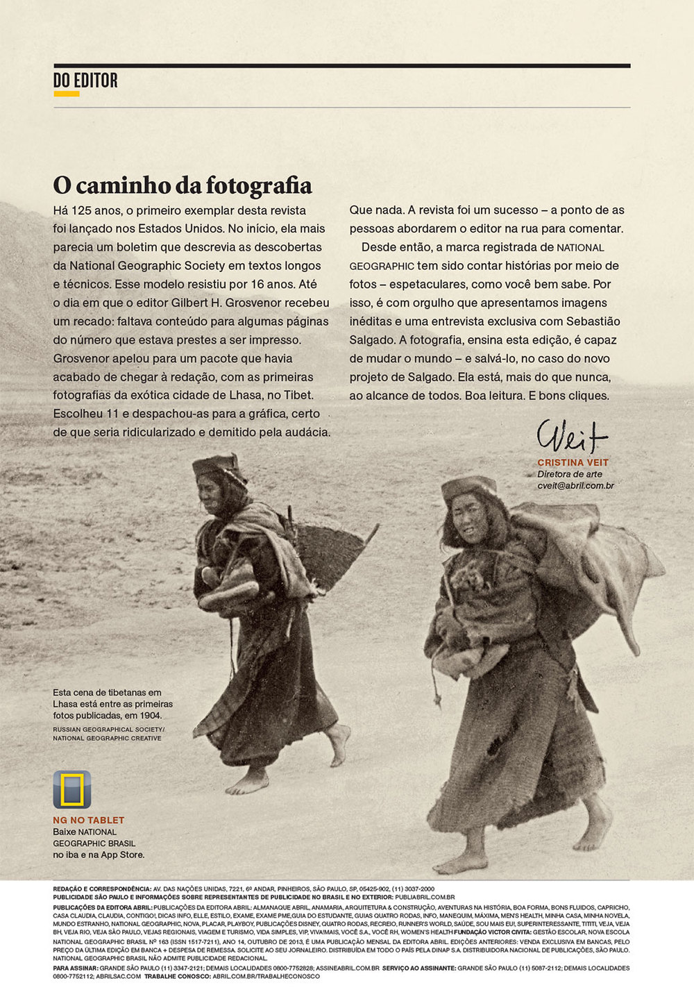 Texto para carta do editor | NG Brasil, outubro 2013.