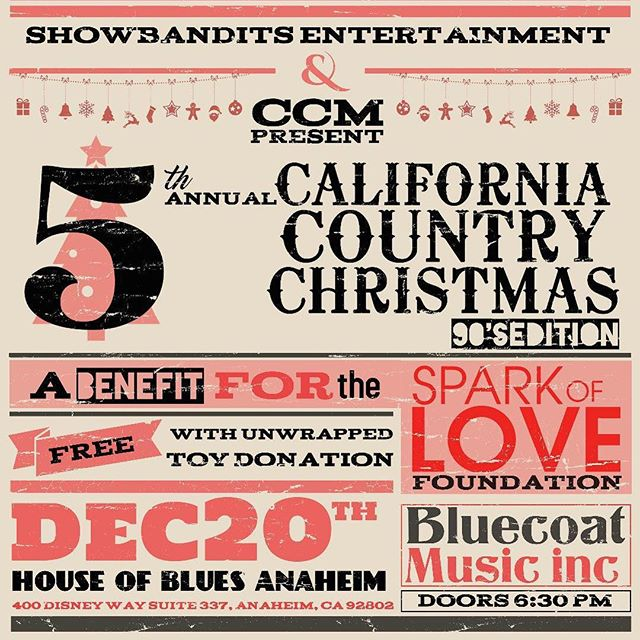 What up y'all!? It's been a minute! Check out this event and the details below! Our lead singer @therealjamesray will be singing along with an amazing lineup! . . . Please join me on Thursday December 20th at House of Blues Anaheim for an unforgettable night of 90's country music performed by yours truly @therealjamesray & over 24 of SoCal's top country artists! This event benefits the Spark of Love Foundation and admission is free with your generous donation of an unwrapped toy. Come sing along to some of your favorite hits & help us make this holiday season a special one for those in need! . @hobanaheim @calicountrymusic @abc7la @gonecountrypromo @bluecoatmusic . #calicountryxmas #sparkoflove #californiacountry #5thannual