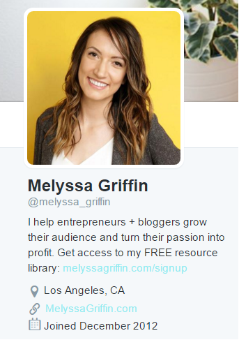 Melyssa Griffin's Twitter bio. Find her on Twitter at https://twitter.com/melyssa_griffin