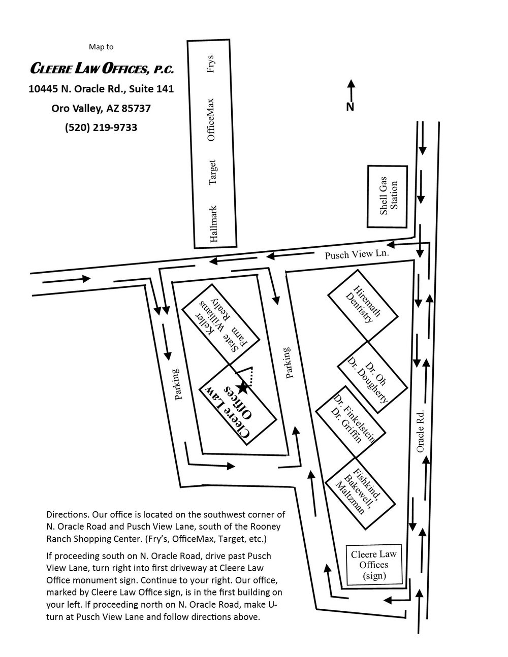 Map of Cleere Law Offices, Oro Valley, Arizona