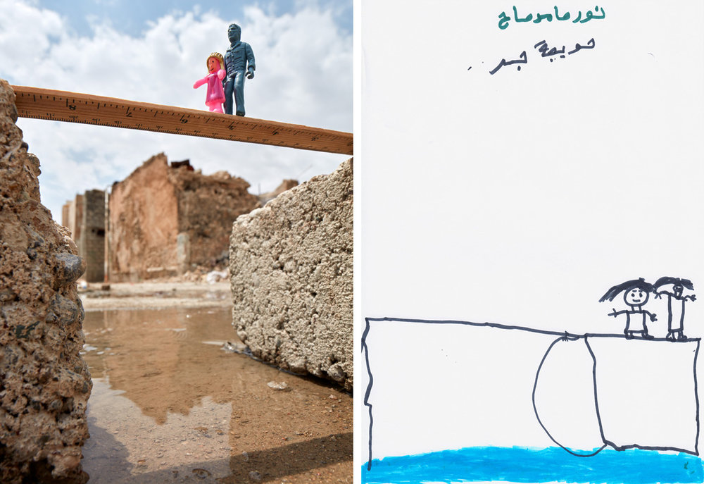 Destroyed Bridge - West Mosul, Iraq2018In an art based interview with Myra Saad, a young Iraqi girl named Noor made a drawing about her father guiding her across a bridge that had been destroyed. Someone had used a piece of wood to span a broken section, and she was scared to cross it. Despite the peril, getting to the other side was the only way to reach the relative safety of her uncle's house, away from the fighting. Soon after, she and her family had to flee again and ended up at the Debaga IDP Camp southeast of Mosul.