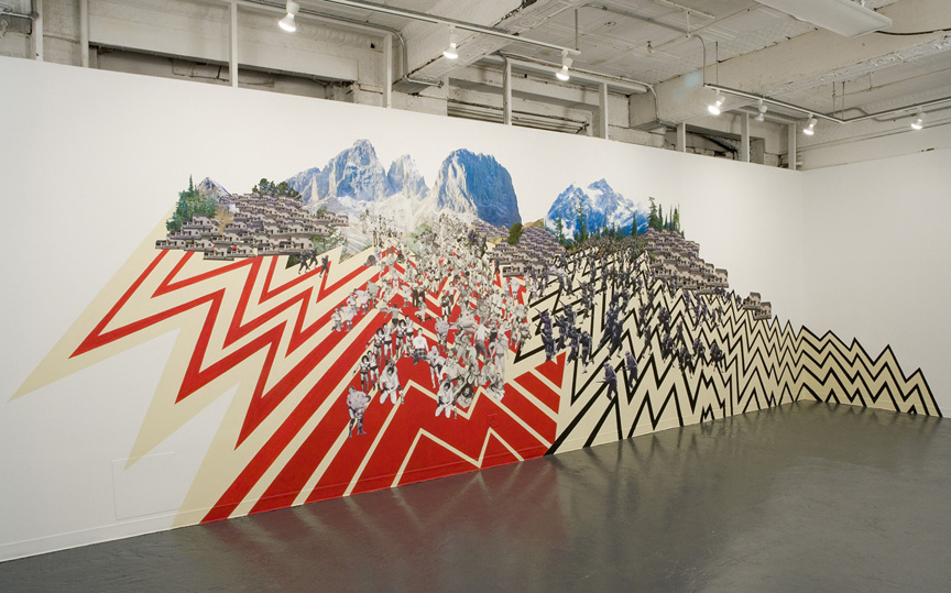t-r-o-u-b-l-e with a capital POW! , 2007  Paint and collage installation  13' x 30'  Pratt Institute, Brooklyn, NY