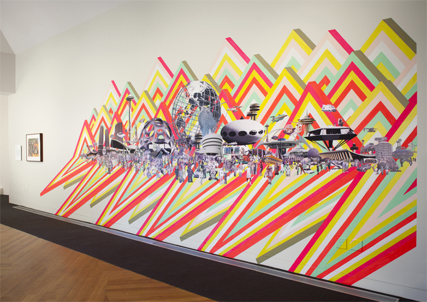 Retro Future , 2011  Paint and collage installation  13' x 30'  DeCordova Sculpture Park and Museum, Lincoln, MA