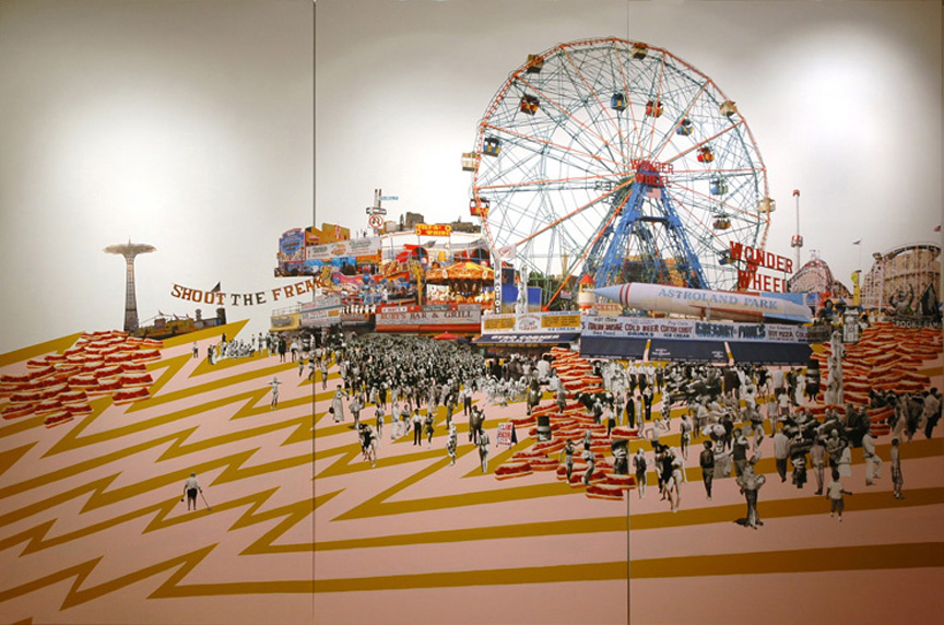 Zowee! It's Coney Island Caviar! , 2007  Paint and collage installation  8' x 12'  Xavier University, Cincinnati, OH