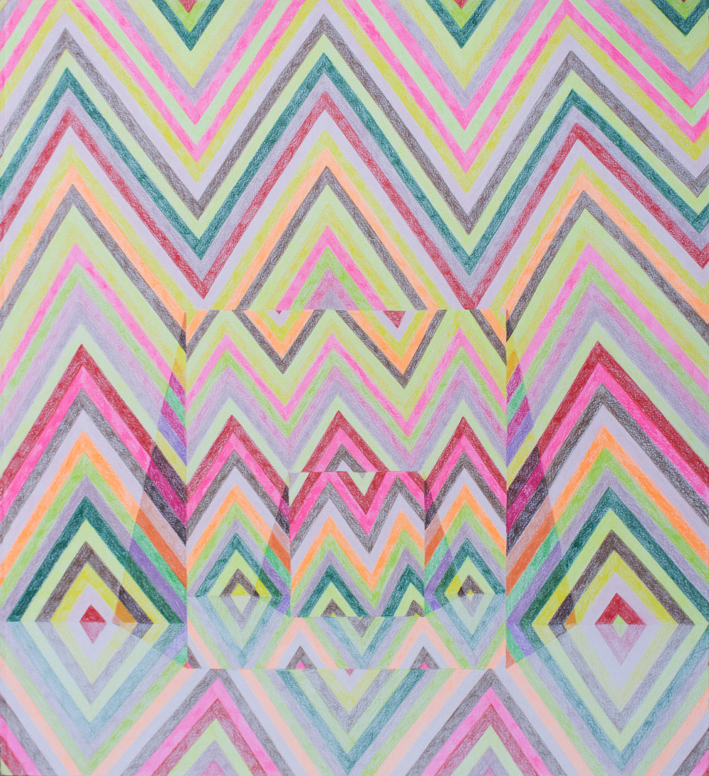 "Multiverse II   2017  Prismacolor on paper  25"" x 22.5"""