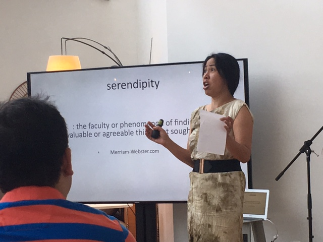 Celeste Malvar-Stewart delivering her talk on this month's theme: Serendipity.