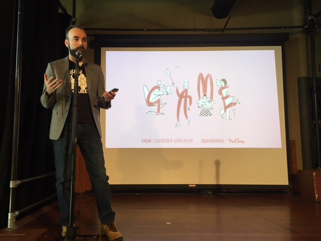 "Blake Compton presenting his talk on ""Game"" this morning on stage at Shadowbox Live."
