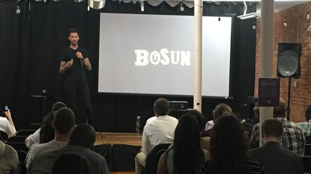 Kevin Mack presenting on stage last night. He's a partner in  BOSUN , a unique branding and marketing firm in Columbus.