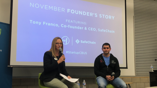 Bethany George, Sr Director with Rev1 Ventures and Tony Franco, Co-Founder & CEO, SafeChain at today's luncheon program.