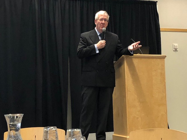 Dr. Hicks presenting his 2019 Economic Forecast, U.S.A. and Ohio.