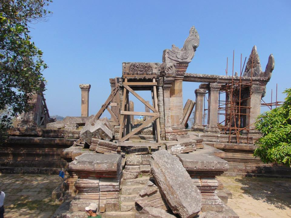 Temple is undergoing restoration and conservation.  Temple of Preah Vihear, Image courtesy of SKY.