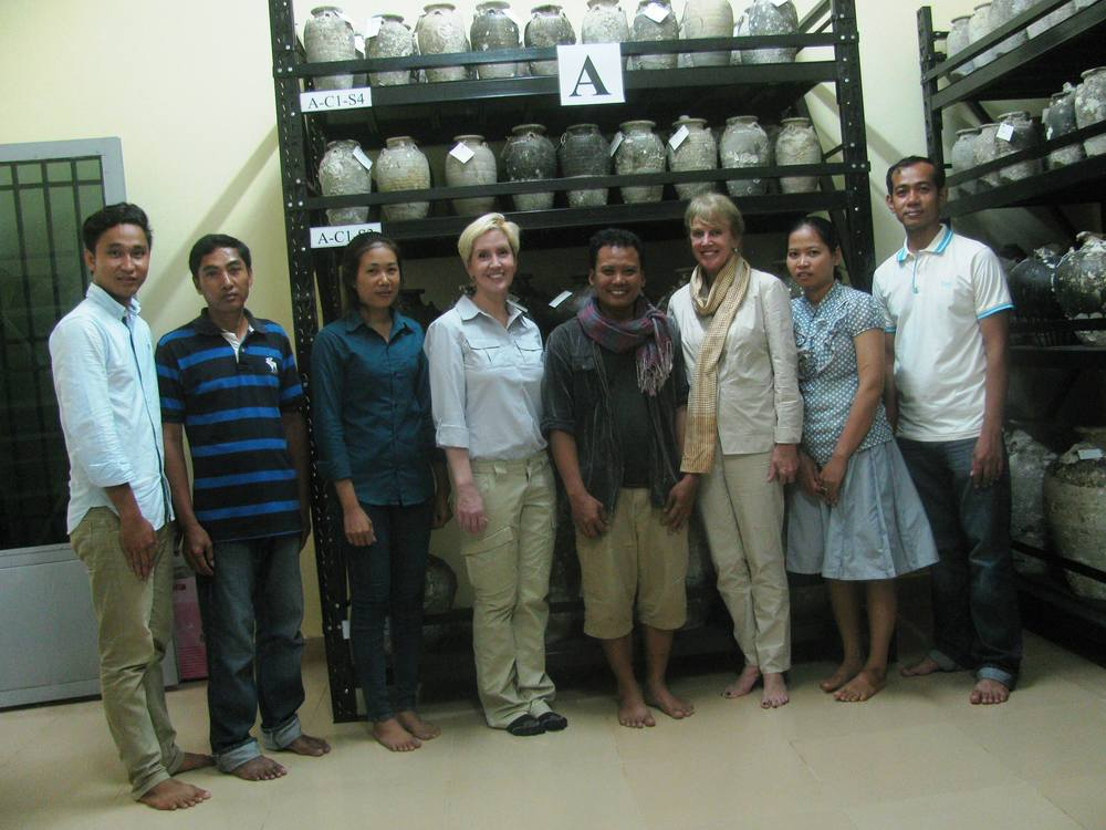 This is an image of Tep Sokha, students, teachers and project funders, Dr. Lisa Sardegna and Dr. Joyce Clord.