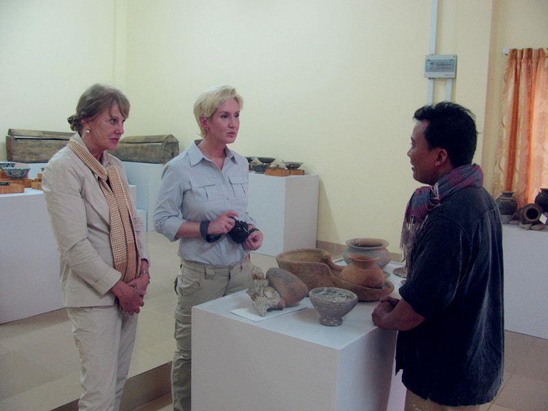 Here, Tep Sokha speaks to project funders, Dr. Lisa Sardegna and Dr. Joyce Clord, during their visit to the Department of Culture and Fine Arts in the Koh Kong province.