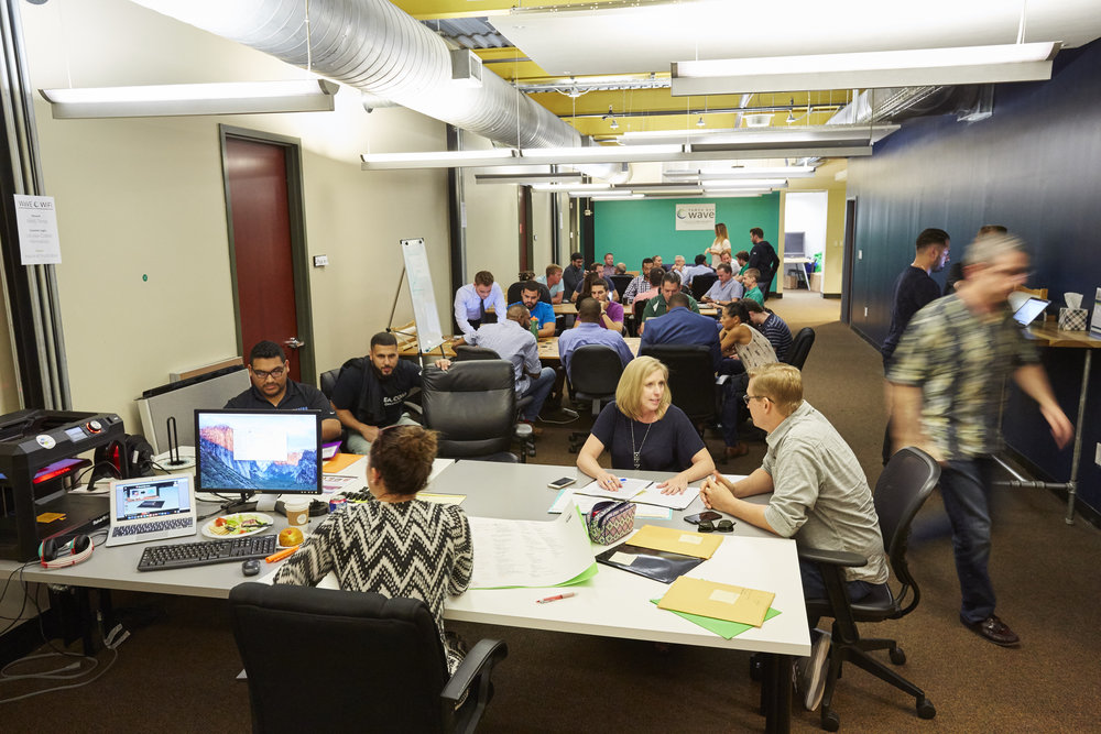 Startups hard at work in the WaVE coworking space.