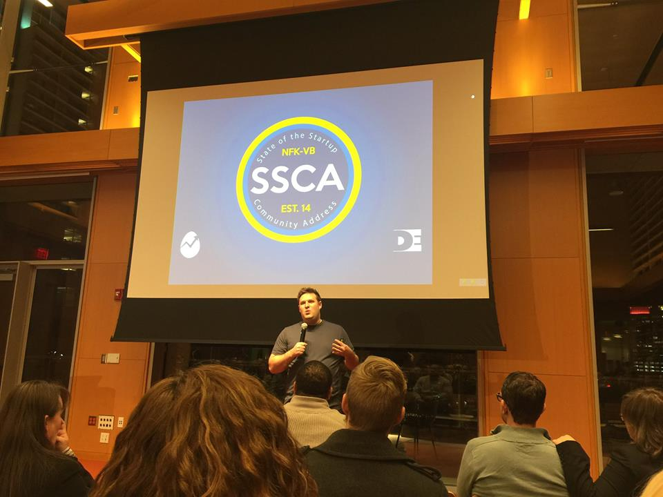Miller speaking at the State of the Startup Community Address.