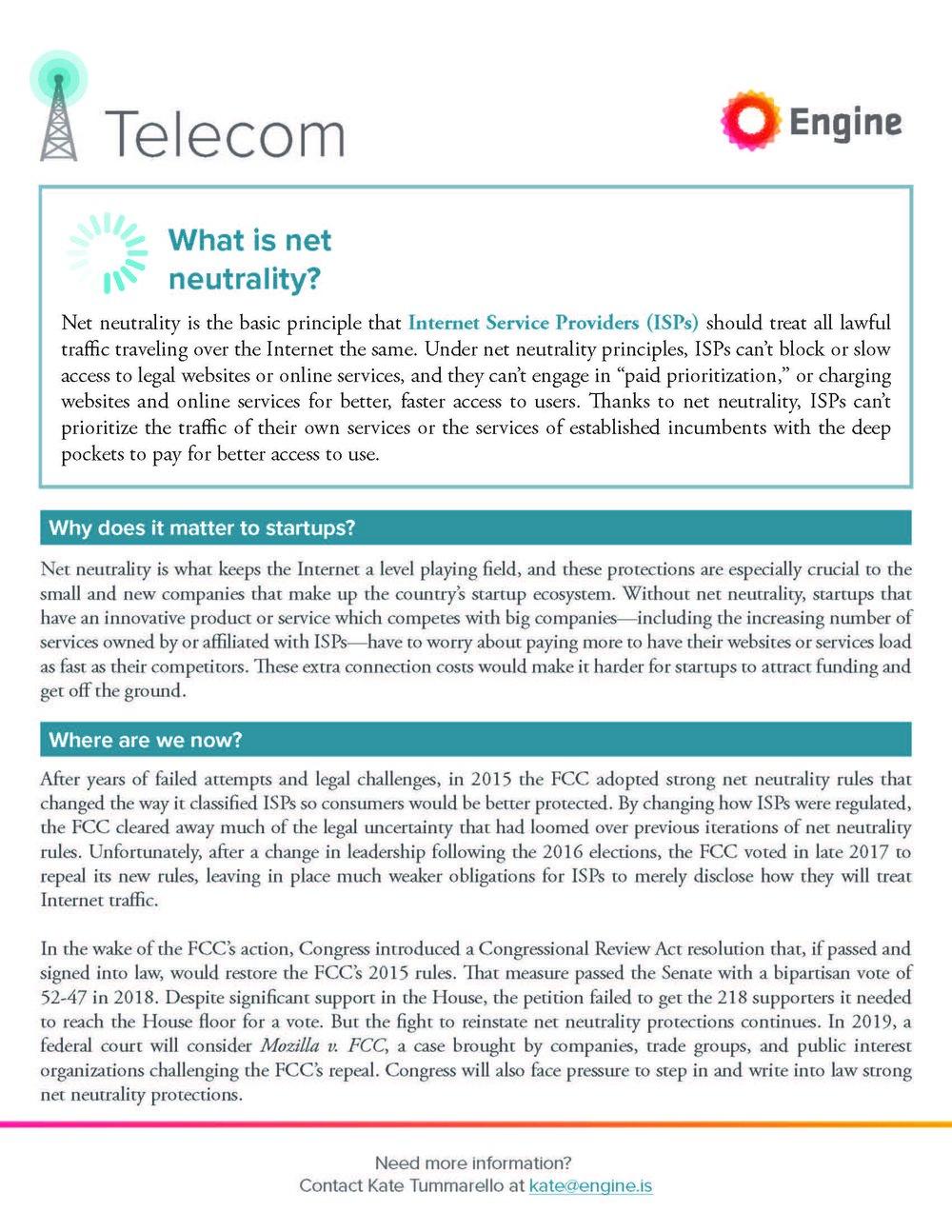 Telecom Primer - Net Neutrality & Broadband Access