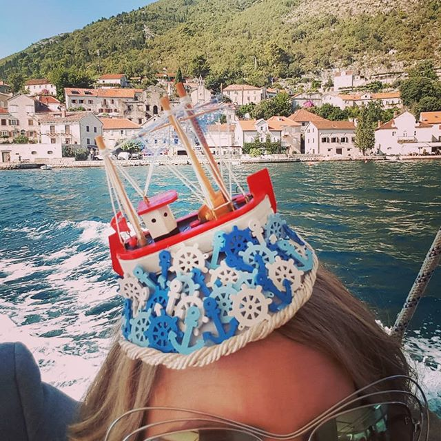 Another beautiful wedding, another gorgeous location, any excuse to create a new headpiece 💕  Showcasing my 'Ship Ahoy' headpiece on the waters of Kotor Bay yesterday ⛵⚓☀ #thehatologist #bespokehats #millinery #headpiece #hat #style #victoriawright #hatfashion #madhatter #hatsofinstagram #fascinator #montenegro #perast #kotor #boatlife #anchorsaway