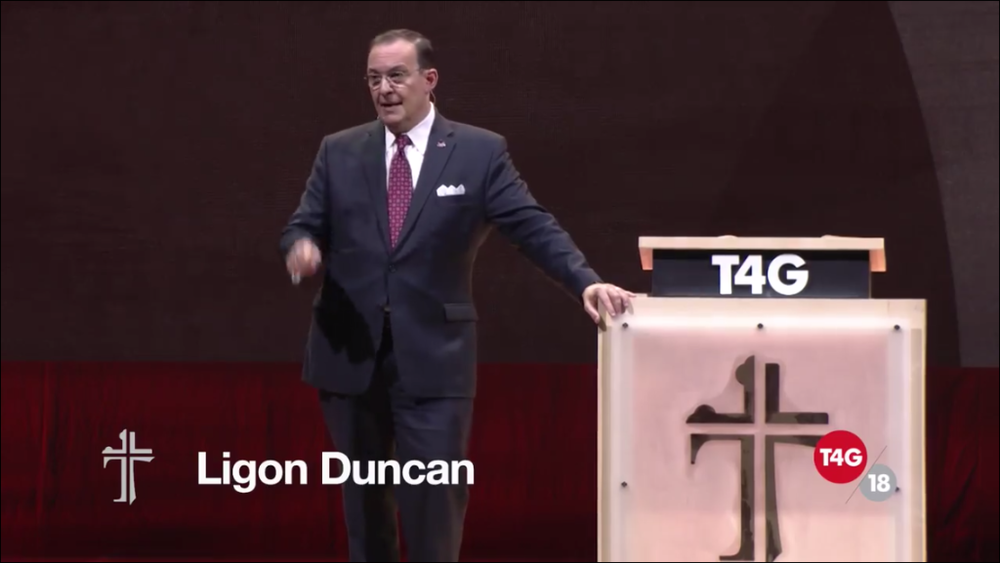 Duncan preaching at Together for the Gospel 2018
