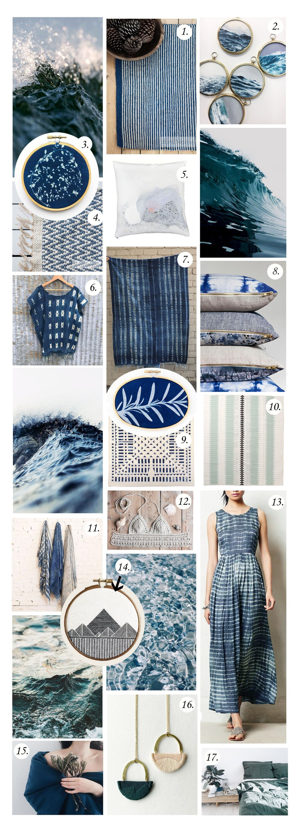 My cyanotype wall hangings were included in this beautiful mood board that  The Fiber Studio  put together this month. Look at at those lovely and serene blues!